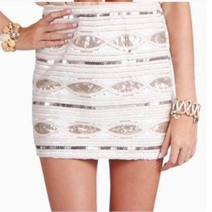 English rose sequence mini skirt S